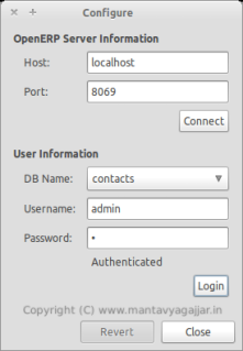 Configure OpenERP Connection