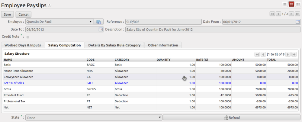 Salary computation and payment with OpenERP 6.1 (2/4)