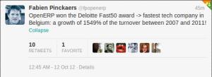 OpenERP won the FAST 50 DELOITTE